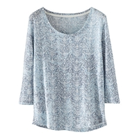 Poetry Linen Printed Jersey T Shirt Grey