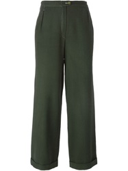 Jean Louis Scherrer Vintage Wide Leg Trousers Green