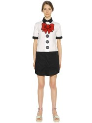 Love Moschino Bow And Button Stretch Cotton Poplin Dress