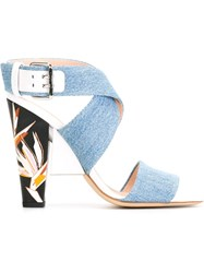 Fendi Denim Sandals Blue