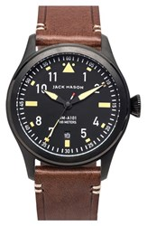 Men's Jack Mason Brand 'Aviation' Leather Strap Watch 42Mm Black Black Brown