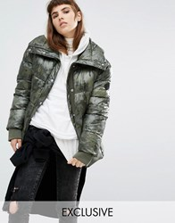 Puffa Oversized Padded Jacket In Angular Camo Khaki Green