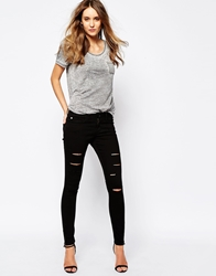 Boss Orange Cropped Jeans With Distressed Detail Black
