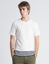 Silas White Ss Panel Border T Shirt