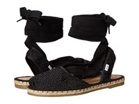 Toms Bella Espadrille Black Moroccan Crochet Women's Shoes