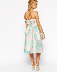 Asos Wedding Structured Skater Dress With Bow Back In Mint Rose Print