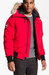 Canada Goose Men's 'Chilliwack' Down Bomber Jacket With Genuine Coyote Trim Red