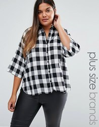 Junarose Plus Katta Shirt In Check Black White