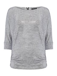 Episode Batwing Top With Exposed Zip Silver