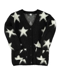 Molo Giselle Star Print Button Front Cardigan Black