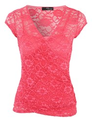 Jane Norman Lace Wrap Style T Shirt Pink
