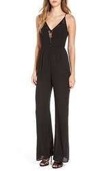 Astr Women's Lace Trim Lace Up Back Jumpsuit