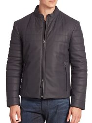 Armani Collezioni Lamb Leather Zip Front Jacket Navy