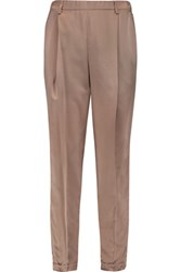 Brunello Cucinelli Cropped Silk Satin Tapered Pants Taupe
