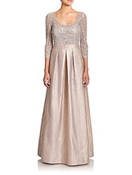 Kay Unger Sequin Lace And Metallic Jacquard Gown Bisque