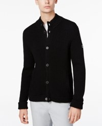 Armani Exchange Men's Button Up Cardigan Solid Black