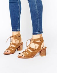 Park Lane Gladiator Heeled Suede Sandals Tan