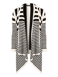 Jane Norman Striped Waterfall Cardigan Black