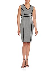 Karl Lagerfeld Frayed Houndstooth Sheath Dress Black Ivory