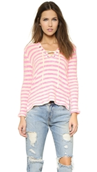 Splendid Ohana Stripe Sweater Neon Pink