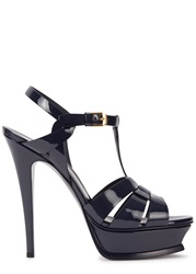 Saint Laurent Tribute Navy Patent Leather Sandals