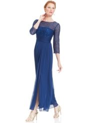 Patra Three Quarter Sleeve Glitter Lace Gown