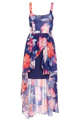 Quiz Navy Floral Print Dip Hem Dress