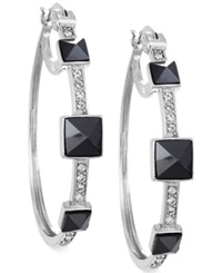 Sis By Simone I Smith White Crystal And Jet Pyramid Stud Hoop Earrings In Platinum Over Sterling Silver