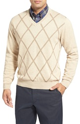 Cutter Buck 'Sawtooth' Argyle V Neck Sweater Big And Tall Beige Multi