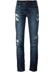 Diesel Distressed Straight Jeans Blue