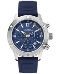 Nautica Men's Chronograph Navy Silicone Strap Watch 46Mm N17652g