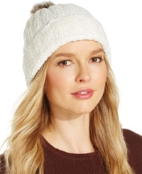 Charter Club Chenille Pom Pom Cuff Hat Only At Macy's Ivory