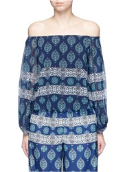 Nicholas Temple Print Off Shoulder Chiffon Top Multi Colour