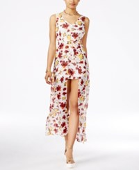 Material Girl Juniors' Printed Sheer Overlay Romper Only At Macy's Egret Combo