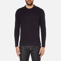Folk Men's Textured Knitted Jumper Navy