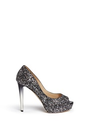 Jimmy Choo 'Dahlia' Gradient Heel Glitter Peep Toe Pumps Metallic