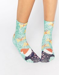 Monki Christmas Pug Socks White