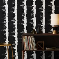 Cb2 Emmett Black And White Stripe Traditional Paste Wallpaper