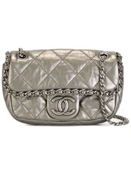 Chanel Vintage Mini Quilted Crossbody Bag Metallic