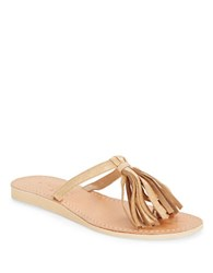 Cocobelle Fringe Leather Toe Ring Sandals Taupe