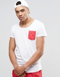 Ringspun Scoop Neck Beach T Shirt With Pocket Co Ord White