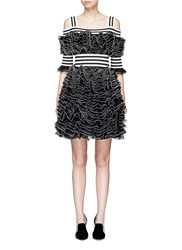 Alexander Mcqueen Stripe Panel Ruffled Mesh Knit Cold Shoulder Dress Black
