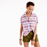 J.Crew Tall Short Sleeve Popover In Vintage Plaid