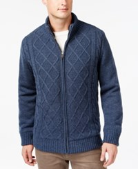 Tricots St Raphael Cable Knit Full Zip Sweater Jacket Indigo Heather