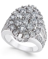 Macy's Diamond Oval Cluster Ring 4 Ct. T.W. In 14K White Gold
