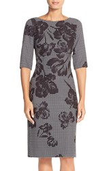 Donna Ricco Floral Houndstooth Scuba Sheath Dress Black