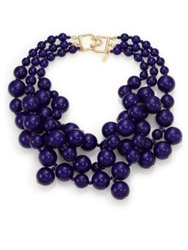 Kenneth Jay Lane Beaded Statement Necklace Blue Gold