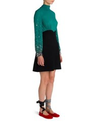 Miu Miu Embellished Long Sleeve Dress Nero Turquoise