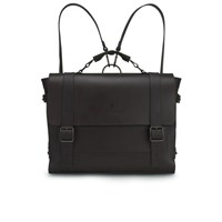 Knutsford Men's Wax Cotton And Leather Satchel Dark Brown