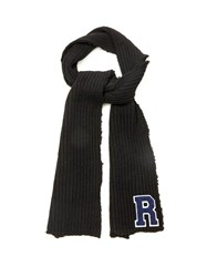 Raf Simons 'R' Badge Ribbed Wool Scarf Black Multi